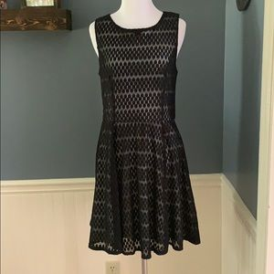 Lily Rose Black Circle Lace Fit & Flare Dress L